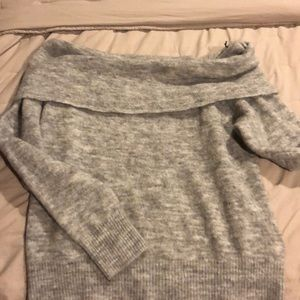 Gray Divided Off the Shoulder Sweater